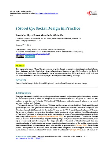 I Stood Up: Social Design in Practice - UAL Research Online