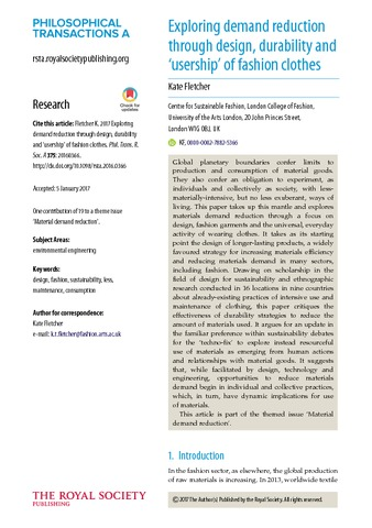 Title Exploring Demand Reduction Through Design Durability And Usership Of Fashion Clothes Type Article Url Http Ualresearc