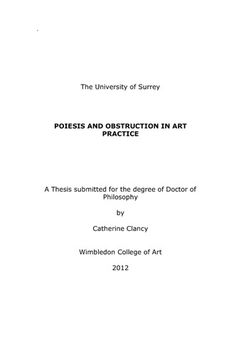 Phd thesis in sculpture